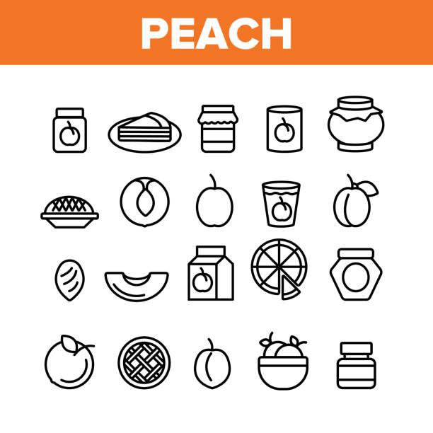 pfirsich obst sammlung elemente icons set vektor - nektarinenmarmelade stock-grafiken, -clipart, -cartoons und -symbole