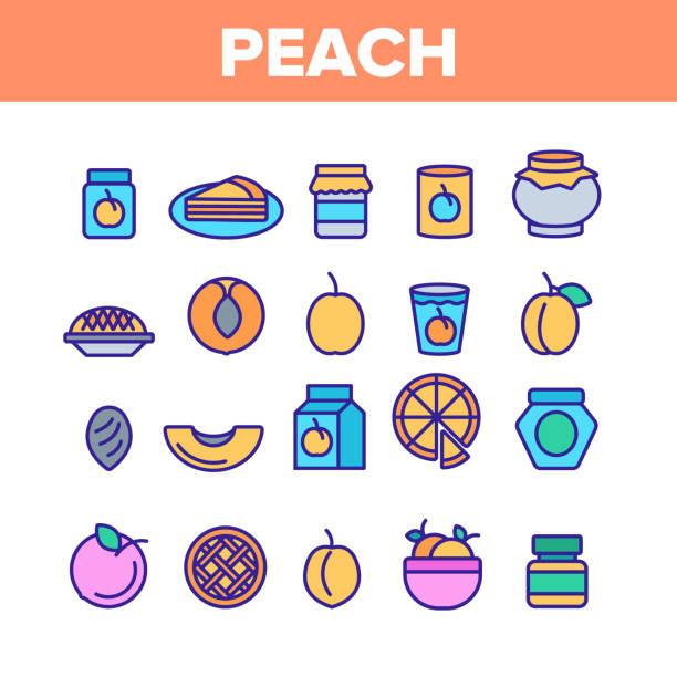 pfirsich frucht farbe elemente icons set vektor - nektarinenmarmelade stock-grafiken, -clipart, -cartoons und -symbole