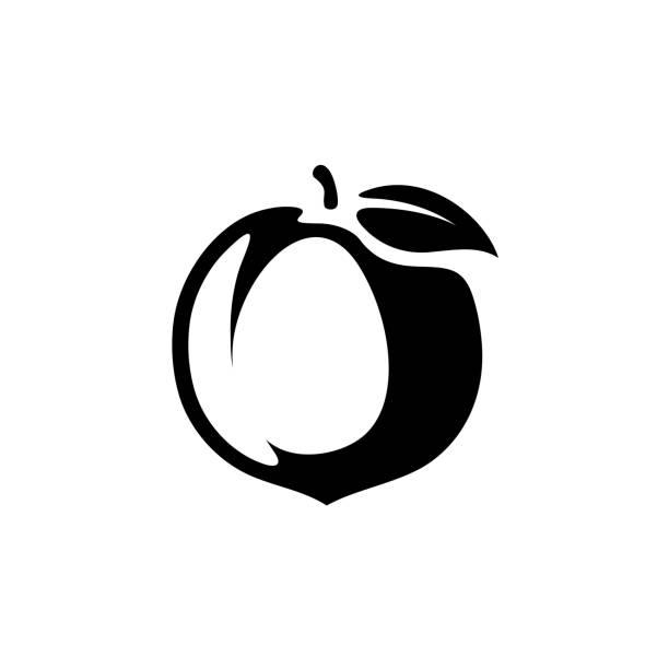 illustrations, cliparts, dessins animés et icônes de illustration de fruit pêche silhouette vecteur noir monochrome - pêche