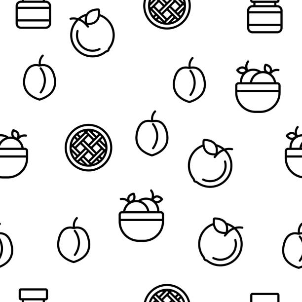 pfirsich frucht vektor nahtlose muster - nektarinenmarmelade stock-grafiken, -clipart, -cartoons und -symbole