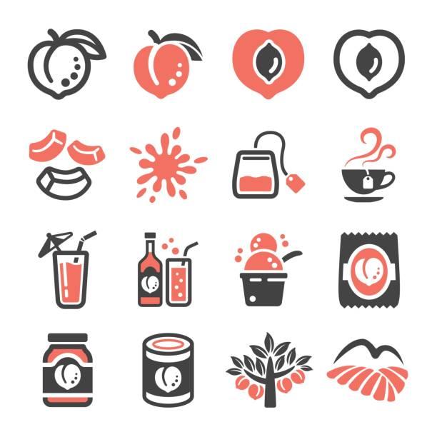 pfirsich-symbol - nektarinenmarmelade stock-grafiken, -clipart, -cartoons und -symbole