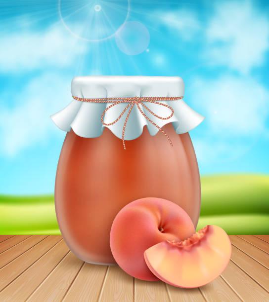 pfirsich marmelade glas - nektarinenmarmelade stock-grafiken, -clipart, -cartoons und -symbole