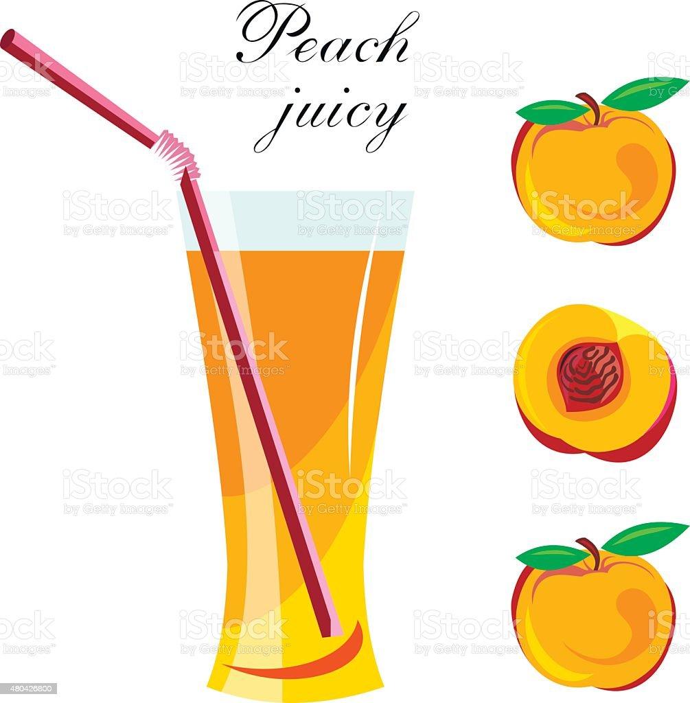 Peach juice vector art illustration