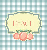 Peach label in retro style on squared background