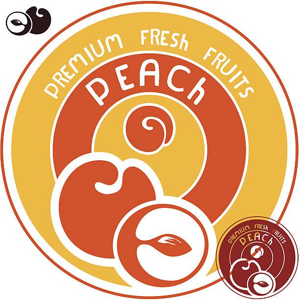 peach label - nektarinenmarmelade stock-grafiken, -clipart, -cartoons und -symbole