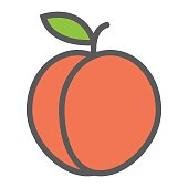 Peach line icon, fruit and diet, vector graphics, a colorful linear pattern on a white background, eps 10.