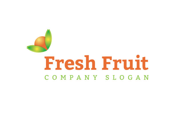 Peach mango orange icon design This icon design features an orange, peach or mango fruit with leaves as its icon. grocer stock illustrations