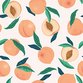 istock Peach or apricot seamless pattern. Hand drawn fruit and sliced pieces. Summer tropical endless background. Vector fruit design for label, fabric, packaging. 1255989163