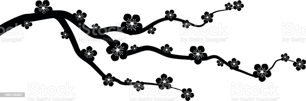Peach or cherry blossom tree branch with flowers vector graphic vector art illustration