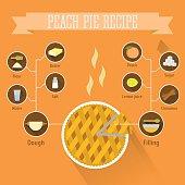 Peach pie recipe in flat style