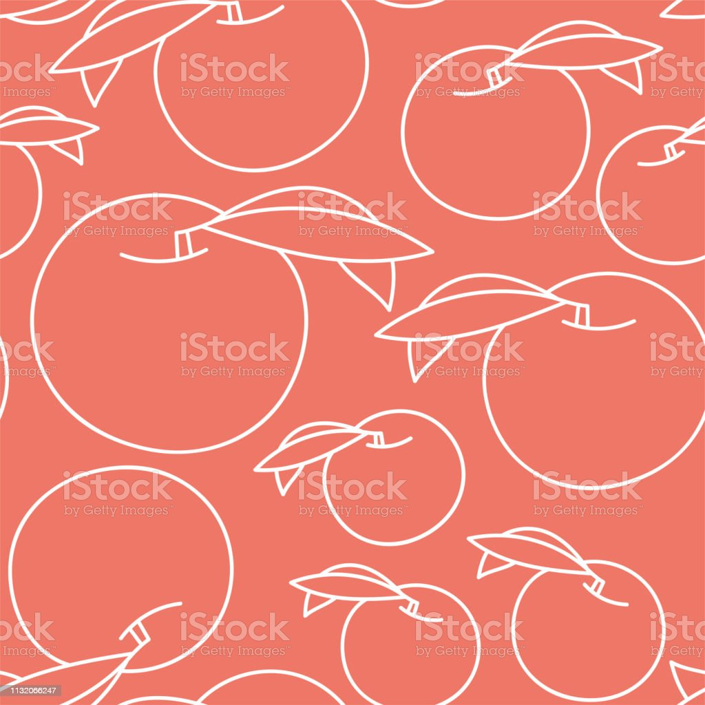 Peach Seamless Pattern Hand Drawn Fresh Exotic Fruit Vector