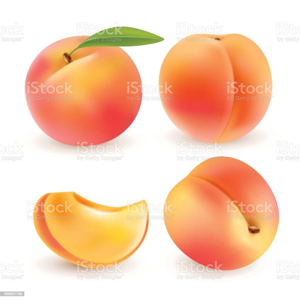 Peach. Fruits sucrés. 3D jeu d'icônes vectorielles. Illustration réaliste - Illustration vectorielle