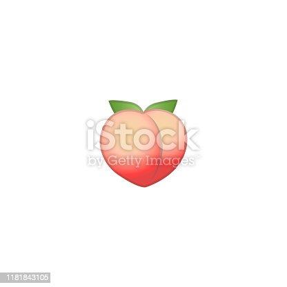 Peach Vector Icon. Isolated Peach Fresh Fruit Emoji, Emoticon Illustration