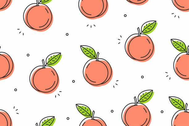pfirsiche musterdesign. vektor-illustration - peach stock-grafiken, -clipart, -cartoons und -symbole