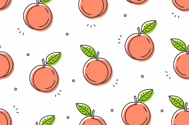 Peaches seamless pattern. Vector illustration Seamless peaches pattern. Vector fruit background fruit patterns stock illustrations