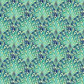 Peacock art deco seamless pattern. Art nouveau vintage background