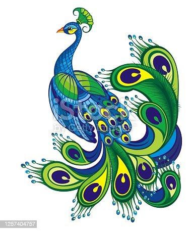 istock Peacock. Bird symbol. 1257404757