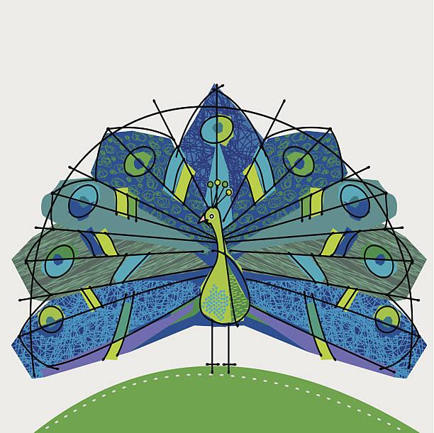 ilustraciones, imágenes clip art, dibujos animados e iconos de stock de peacock azul y verde - tintanegra00