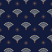 Peacock fan seamless blue vector pattern. Elegant minimal repeat texture.