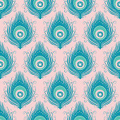 Peacock feather seamless vector pattern design background in pink and turquoise.