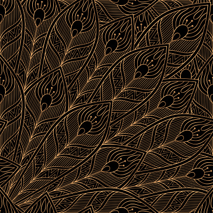 Peacock feathers royal pattern seamless. Luxury background vector. Premium design