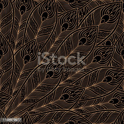 istock Peacock feathers royal pattern seamless. Luxury background vector. Premium design 1148979977