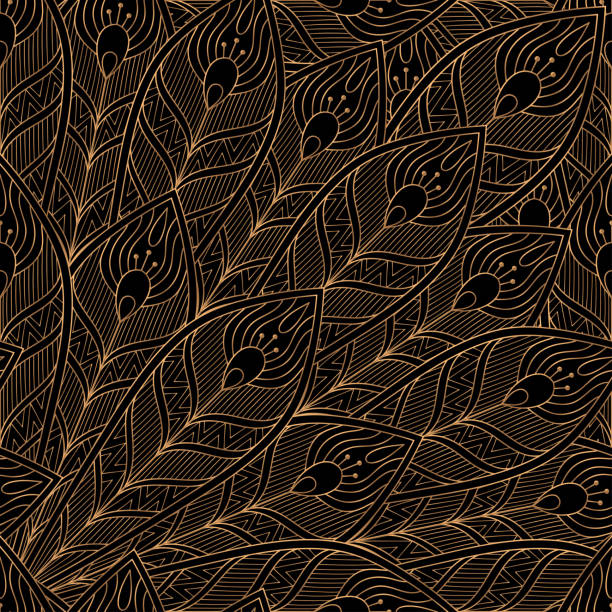 illustrazioni stock, clip art, cartoni animati e icone di tendenza di peacock feathers royal pattern seamless. luxury background vector. premium design - piume colorate