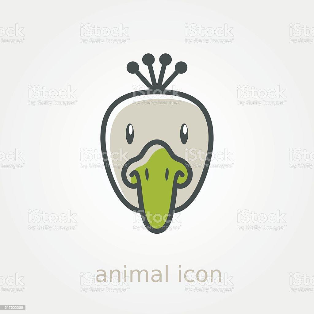 Ilustración de Pavo Real Icono Plana Cabeza De Animal Vector De y ...