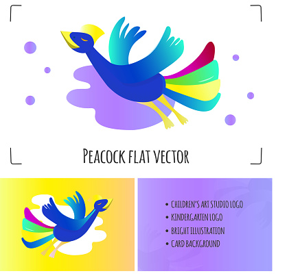 Peacock flat vector