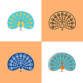 Peacock icon set in flat and line styles. Beautiful bird with colorful tail symbol. Vector illustration.