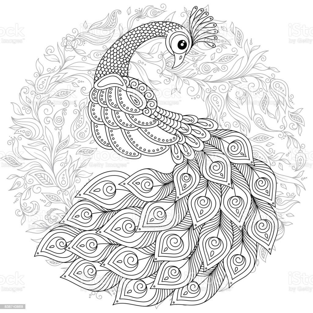 Påfågel i doodle stil. Adult antistress målarbok. vektorkonstillustration