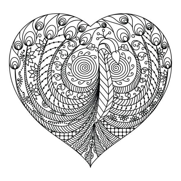 Peacock in heart for Valentines Day or Avatar vector art illustration