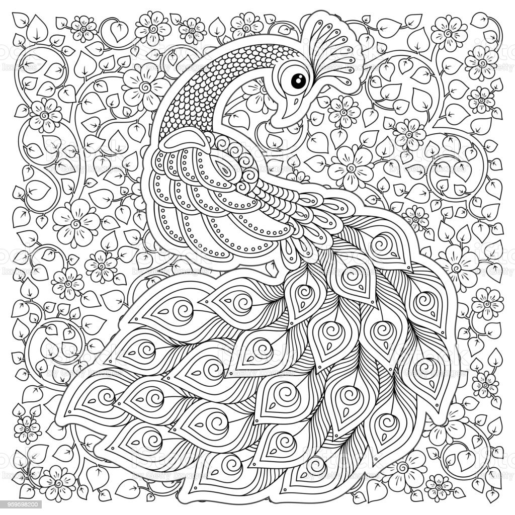 Adult anti stress coloring page royalty free peacock