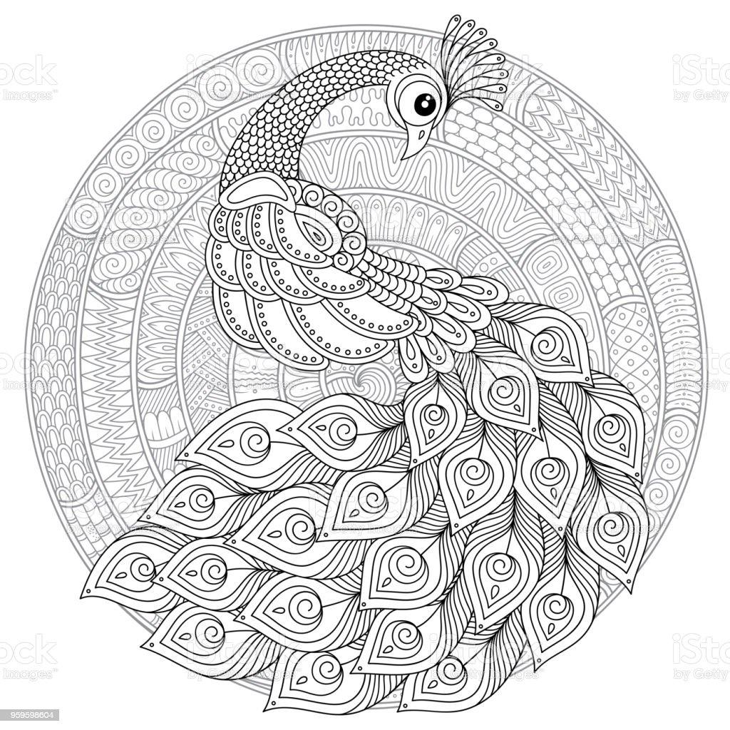 Zen Tarzda Peacock Yetiskin Antistres Boyama Sayfasi Stok Vektor