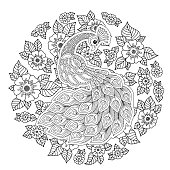 Peacock in zen style. Adult anti-stress coloring page.