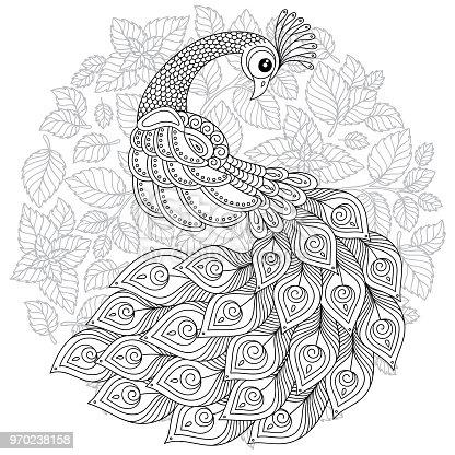 Ilustración de Pavo Real En Estilo Zen Página Para Colorear Para ...