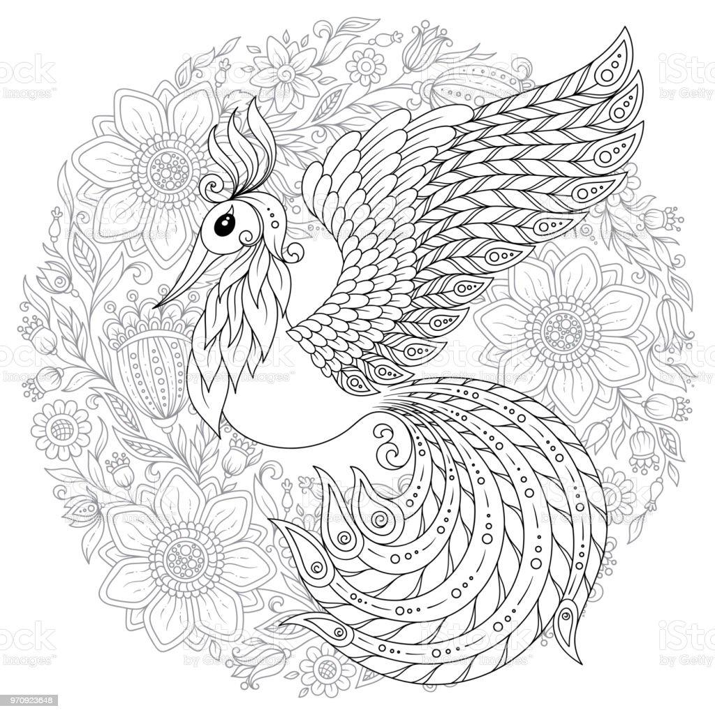 Ilustración de Pavo Real En Estilo Zen Página Para Adultos ...