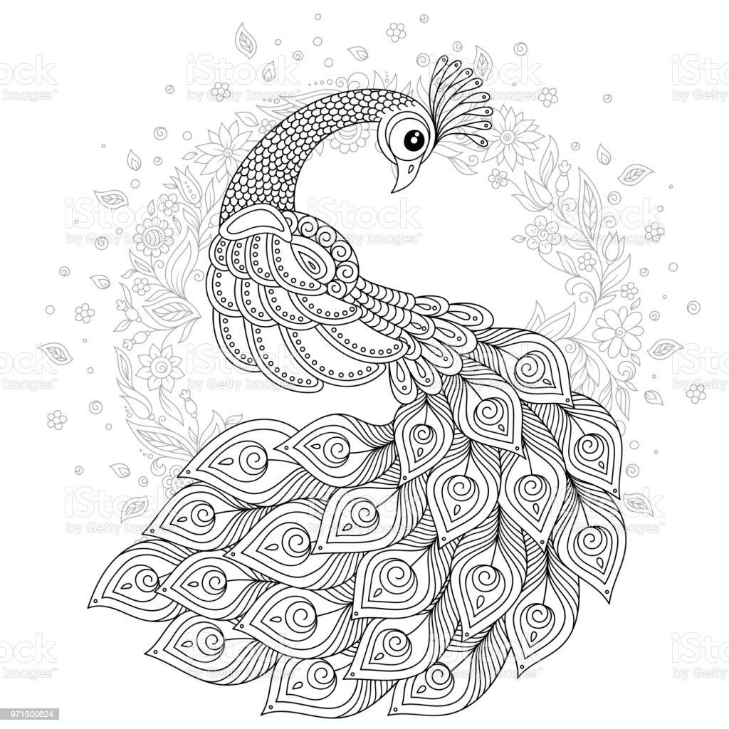 Paon en style zen coloriage adulte anti stress cliparts - Zen coloriage ...
