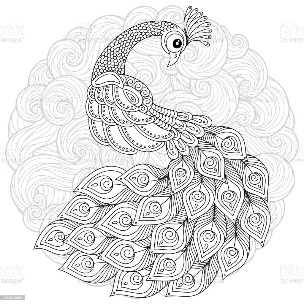 Coloriage Adulte Stress.Paon En Style Zen Coloriage Adulte Anti Stress Vecteurs Libres De