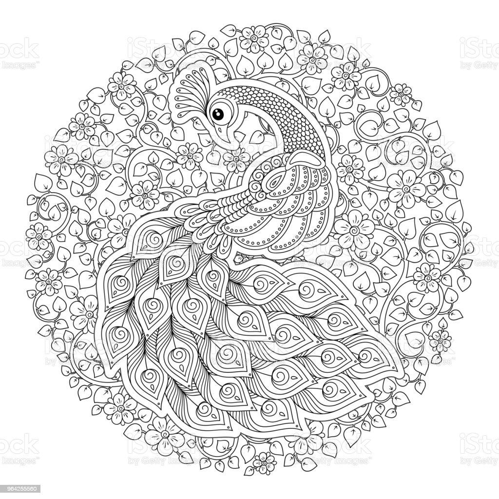 Zentarzda Peacock Yetiskin Antistres Boyama Sayfasi Stok Vektor