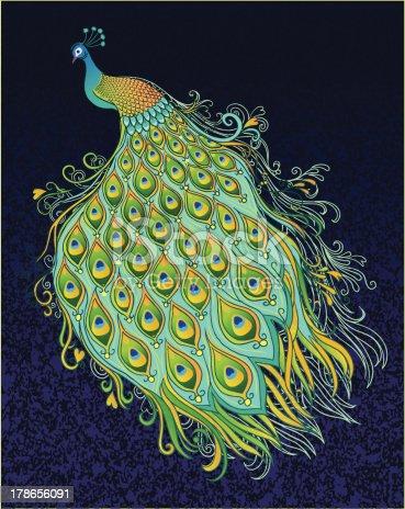 istock Peacock on Dark Textured Background 178656091