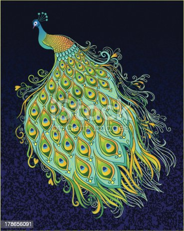 istock Peacock on Dark Textured Background 178656091