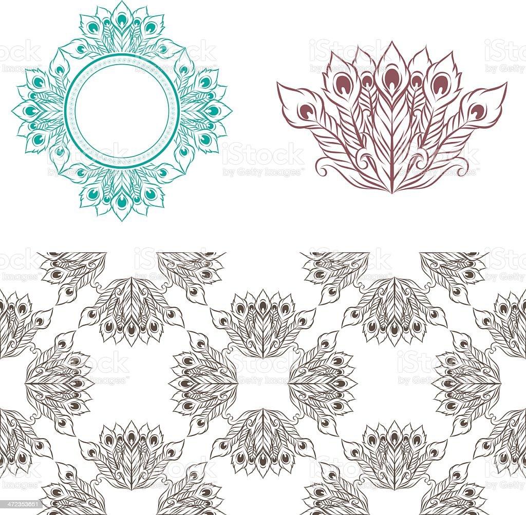 Peacock Pattern vector art illustration