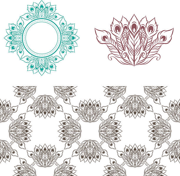 Peacock Pattern vector art illustration
