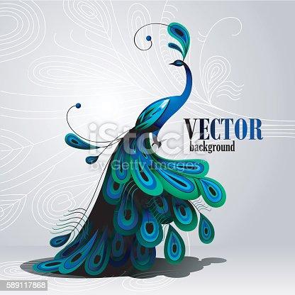 istock Peacock. Vector background 589117868