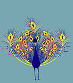 Peacock,All elements are in separate layers color can be changed easily .