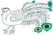 Hand drawn bird peacock. Sketch