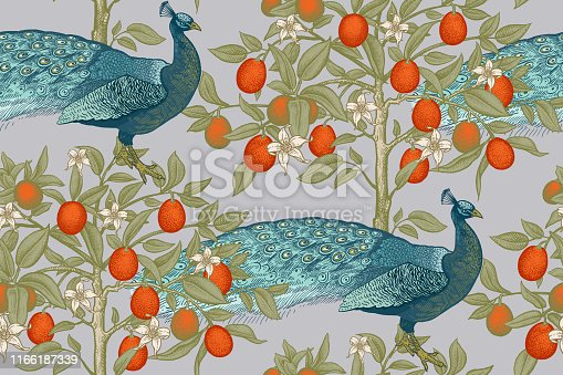 Seamless pattern with blooming fruit trees and birds. Peacocks and citruses kumquats. Vintage vector art illustration. Template for textile, paper, wallpaper.