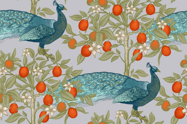 peacocks and citruses kumquats. seamless pattern with blooming fruit trees and birds. - peacock stock illustrations