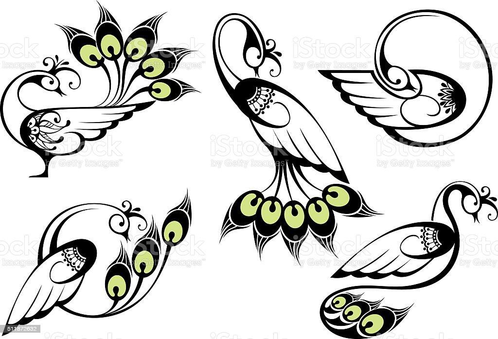 Observe los pavos reales - ilustración de arte vectorial